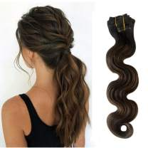 Munx Ombre 18 Inch Curly Clip in Human Hair Extensions Highlights 1B Black to Chestnut Brown Wavy Clip on Real Human Hair Extension Double Weft Full Head Brazilian Virgin Human Hair Clip ins for Women