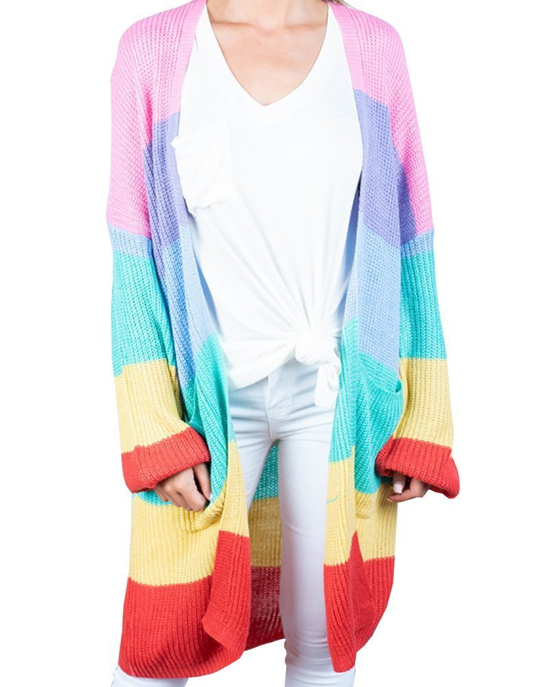 Imily Bela Womens Rainbow Lightweight Cardigan Boho Color Block Oversized Knitted Sweater