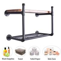 "3/4"" Industrial Pipe Wall Shelf Rustic Bathroom Bedroom Kitchen Shelving With Heavy Duty Storage Rack 24-Inch Wood (2 Tier)"
