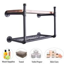 "3/4"" Industrial Pipe Wall Shelf Rustic Bathroom Bedroom Kitchen Shelving With Heavy Duty Storage Rack 24-Inch Wood (2 Tier)"