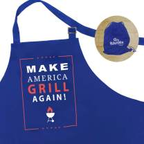 "BARTME DESIGN - Funny Adult Kitchen Aprons - Men & Women - Grilling Cooking BBQ Chef Apron - Adjustable - 2 Pockets - Wrapped Ready to Gift: ""Make America Grill Again"" - 100% Cotton"