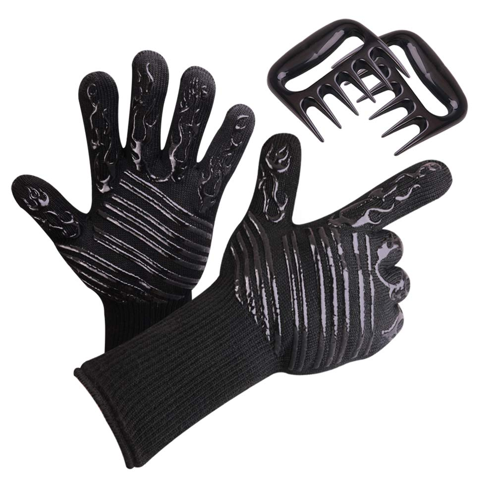 YUOY BBQ Grill Gloves, Flexible Non-Slip BBQ Gloves Comfortable Extreme Heat & Fire Resistant with Meat Claws for Pulled Pork for Grilling, Smoking, Oven, Fireplace, Baking (4 Pack)