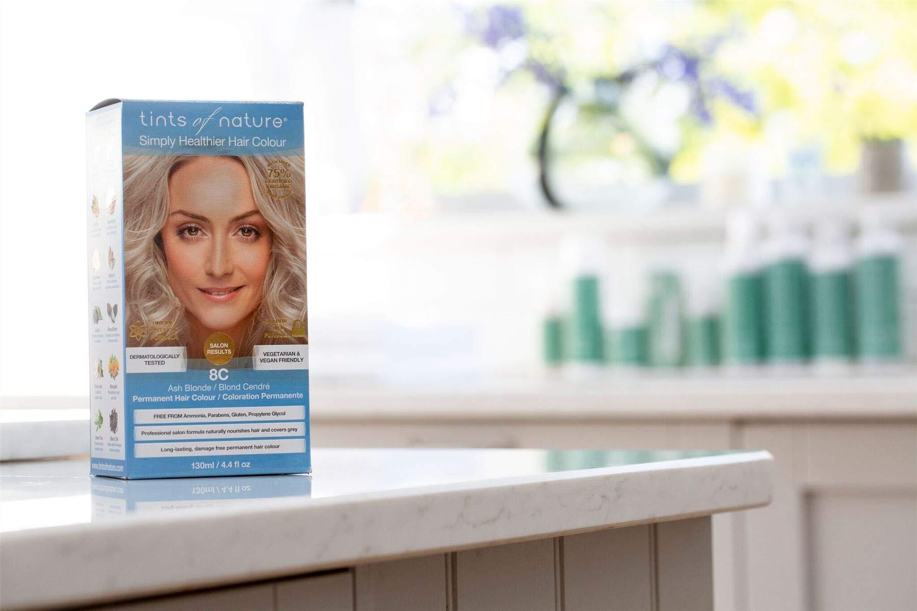 Tints of Nature 8C Ash Blonde Permanent Hair Dye | A Naturally Cool Icy Blonde Home Hair Colour Kit | Vegan Friendly | 130ml / 4.4 fl oz