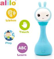 alilo R1+ Shake and Tell Advanced Educational Baby Rattle Smart Bunny w/ 7 Features Learning Number, Alphabet, Music Note, Sleeping Nursery Rhyme, Repeat, Interactive Game, Illuminating Ear R1P, Blue