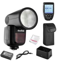 Godox V1-S Flash with Godox Xpro-S TTL Flash Trigger for Sony, 76Ws 2.4G TTL Round Head Flash Speedlight, 1/8000 HSS, 1.5 sec. Recycle Time, 2600mAh Lithium Battery, 10 Level LED Modeling Lamp