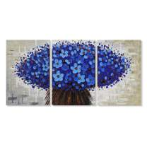 """JAPO ART Blue Flowers Abstract Canvas Wall Art Oil Painting on Canvas Modern Home Decor for Living Room Bedroom Framed Ready to Hang 16""""x24"""" x3pcs"""