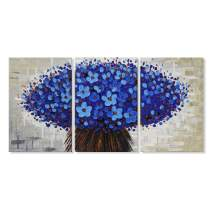 "JAPO ART Blue Flowers Abstract Canvas Wall Art Oil Painting on Canvas Modern Home Decor for Living Room Bedroom Framed Ready to Hang 16""x24"" x3pcs"