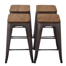 """YongQiang Metal Barstools Set of 4 Backless Counter Bar Stools with Wooden Seat 26"""" Rusty"""