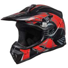 ILM Adult Youth Kids ATV Motocross Dirt Bike Motorcycle BMX MX Downhill Off-Road Helmet DOT Approved (RED Black, Adult-XL)