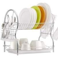 Dish Drying Rack, 2 Tier Dish Rack Kitchen Organizer with Drain Board, Chrome ALHAKIN