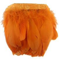 KOLIGHT 2 Yards Natural Dyed Goose Feathers 6~8 inches(15~20cm) Trim Fringe for DIY Dress Sewing Crafts Costumes Decoration (Orange)