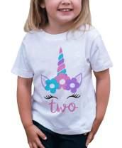 7 ate 9 Apparel Girls Two Birthday Unicorn T-Shirt