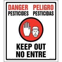 """Danger: Pesticides, Keep Out, No Entry Sign - J. J. Keller and Associates - 14"""" x 16"""" Plastic with Rounded Corners for Indoor/Outdoor Use - Complies with OSHA 40 CFR 170.120"""