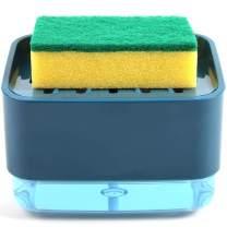 Kitchen Soap Dispenser + Sponge Holder 2-in-1, Update Design Dish Liquid Soap Pump Dispenser, Dishwashing Countertop Soap Dispenser with Sponge Holder Instant Refill (Blue)