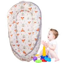 Brandream Baby Bassinet for Bed, Woodland Fox Newborn Baby Lounger, Breathable & Hypoallergenic Co-Sleeping Baby Bed, 100% Cotton Portable Crib for Bedroom/Travel,White and Orange