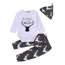 Mikrdoo Baby Clothes Set Long Sleeve Bodysuit White Tops Unicorn Printed Pants and Headband Outfits 3PCS