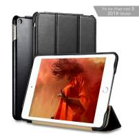 iPad Mini 5 Case, ICARER Vintage Series Genuine Leather Folio Flip Smart Cover with Auto Wake/Sleep Function [Magnetic Latch] Kickstand for Apple iPad Mini 5 7.9 inch 2019 (Black)