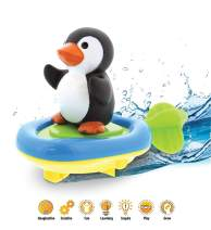 DolliBu Boat Racer Buddy, Fun Educational Bath Toy Finger Puppet Pull and Go Water Racing Pal for Shower Pool Bathtub Swim Hard Surfaces for Baby Toddler and Boy - 6 Inch - 3 in 1 Game (Penguin)
