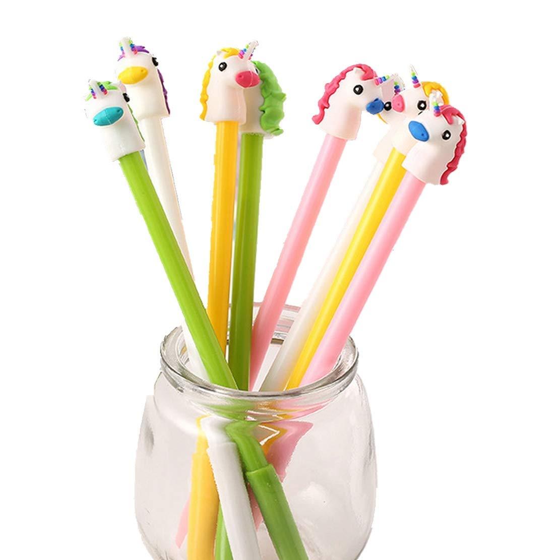 WIN-MARKET Cute Kawaii Cartoon Donkey Head Ballpoint Black Ink Gel Pen Cute Kids Party Gift (8PCS)