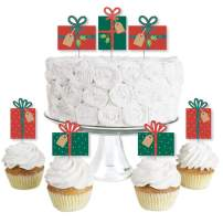 Big Dot of Happiness Happy Holiday Presents - Dessert Cupcake Toppers - Christmas Party Clear Treat Picks - Set of 24