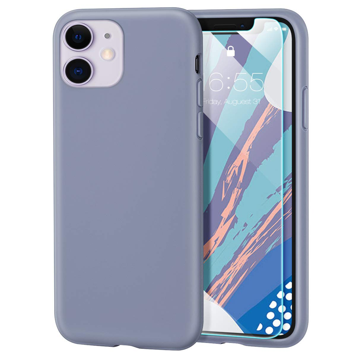 MILPROX iPhone 11 Case with Screen Protector, Liquid Silicone Gel Rubber Shockproof Slim Shell with Soft Microfiber Cloth Lining Cushion Cover for iPhone 11 6.1 inch (2019)-Lavender Gray