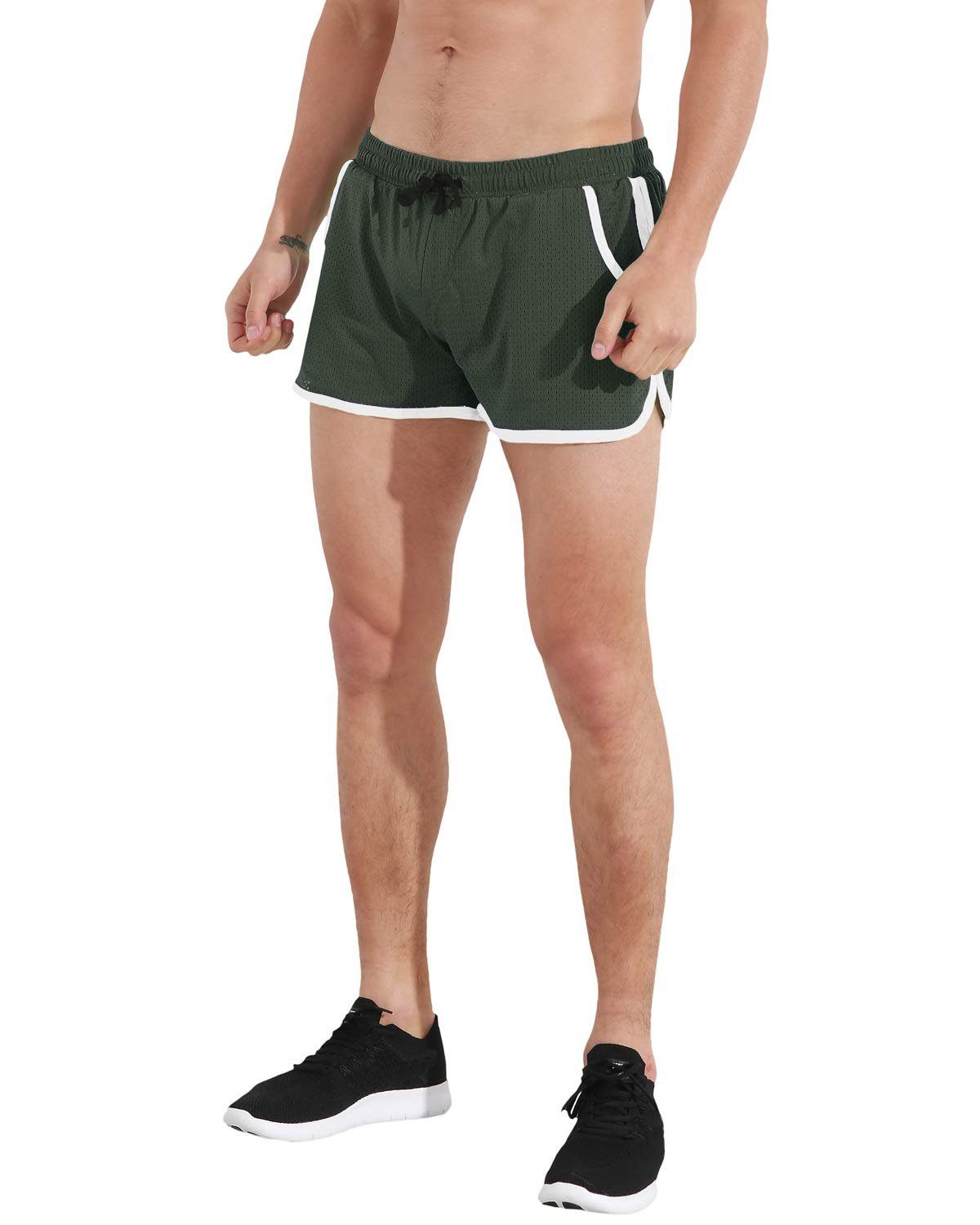 """ChinFun Men's 3"""" Running Shorts Mesh Linen Quick Dry Pace Shorts with Pockets"""