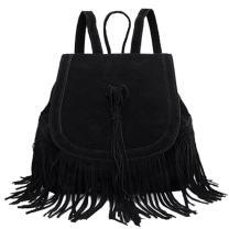 Donalworld Women Tassel Casual Backpack Travel Drawstring PU Leather Bag Black