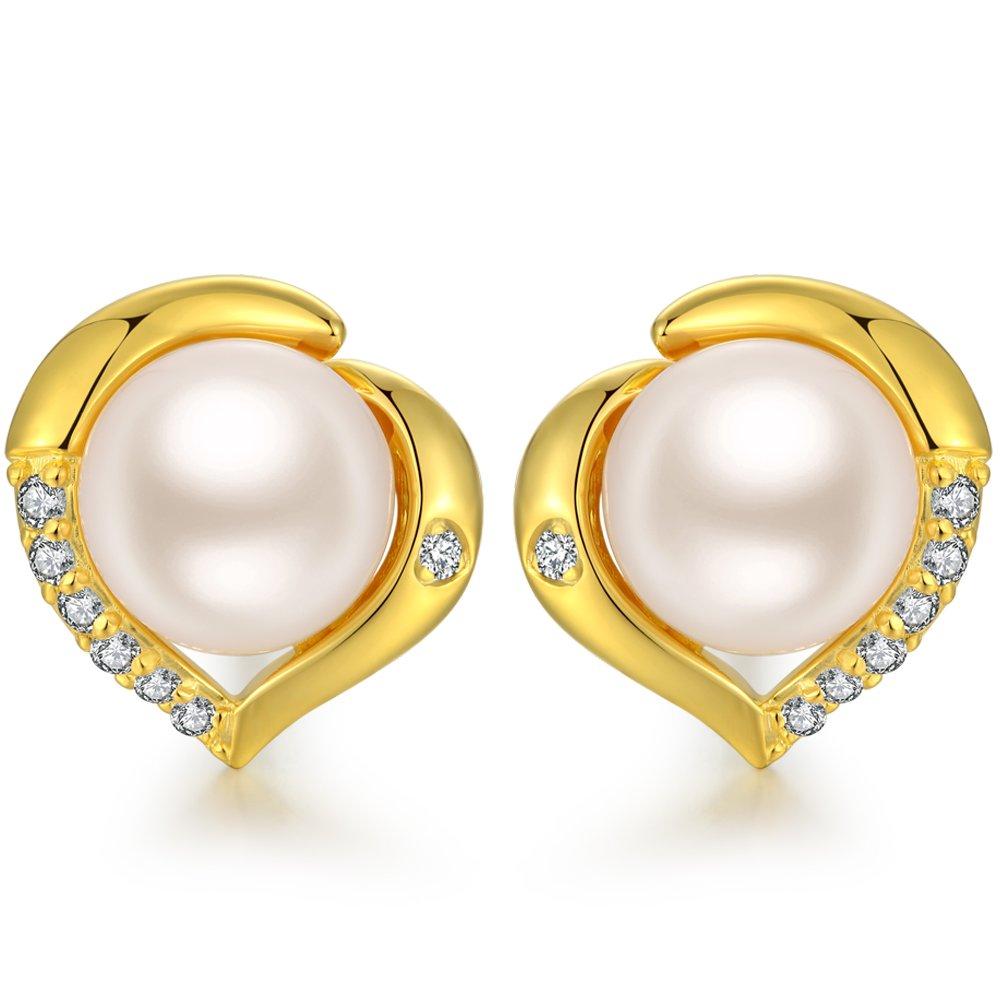 Pearl Earrings 925 Sterling Silver Freshwater Cultured Pearl Earrings 7.5-8mm,Women Fashion Heart Pearl Earrings White,Hypoallergenic Pearl Earrings