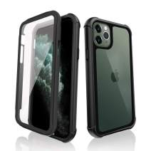 SHIWELY iPhone 11 Pro Case Full Body Rugged Bumper Case with Clear Built-in Anti-Scratch Screen Protector, Shockproof Impact Resistance Dustproof Cover Case for iPhone 11 Pro (Black)