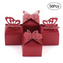 Kslong Red Gift Box Butterfly Wedding Favors Baby Shower Chocolate Candy Favor Box Party Birthday Gift Boxes Bulk 50pcs(Red)