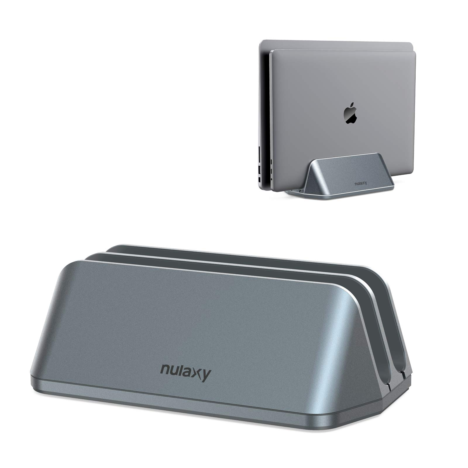 Nulaxy Vertical Laptop Stand, Double Desktop Stand Holder with Adjustable Dock, 2 Slots Aluminum Notebook Vertical Stand Compatible with All Laptops/Notebooks (up to 17.3 inches)-Grey