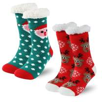 Christmas Slipper Socks with Grippers for Women Men Thick Warm Fleece-lined Mid Calf Fuzzy Socks Time and River