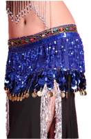Forgrace Women's Performance Outfit Waist Wrap Sequins Coins Tassel Mini Skirts Belly Dance Hip Scarf Belt