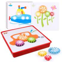 D-FantiX Gear Toys for Kids, Spinning Gear Puzzle Board Games Set Peg Puzzles Cog Fine Motor Skill Toys for Toddlers Stem Preschool Learning Educational Toys