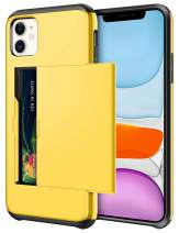 SAMONPOW Wallet Case for iPhone 11 Case with Card Holder Dual Layer Hybrid Shell Heavy Duty Protection Shockproof Anti Scratch Soft Rubber Bumper Cover Case for iPhone 11 6.1 inch Yellow