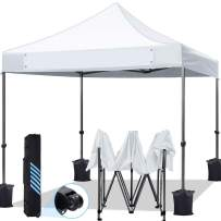 KING BIRD 10'x10' Ez Pop Up Canopy Tent, Outdoor Commercial Instant Shelter with Banner, Heavy Duty Roller Bag, 4 Weight Bags, White