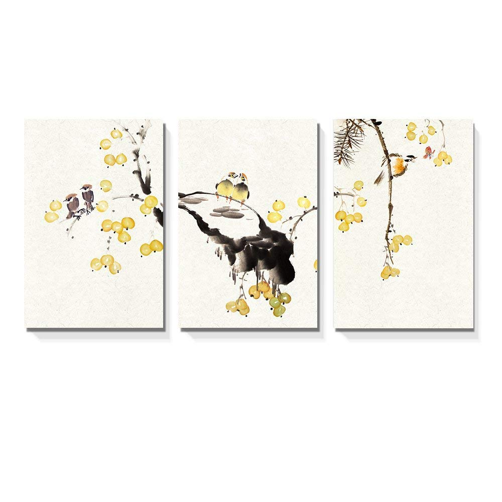 """wall26-3 Panel Canvas Wall Art - Chinese Ink Painting Style Birds on Tree Branch with Small Yellow Fruits - Giclee Print Gallery Wrap Modern Home Decor Ready to Hang - 24""""x36"""" x 3 Panels"""