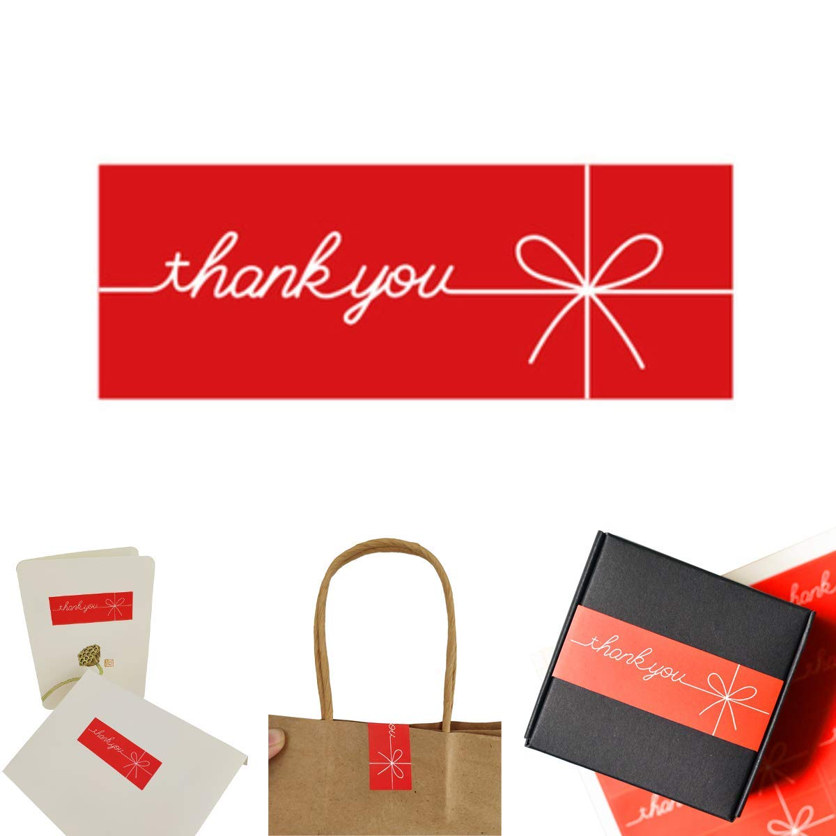 300Pack Thank You Stickers,Red,Rectangular,Bowknot,Decorative Sealing Adhesive Labels Sticker for Customizable Team Gifts,Boutique Supplies,Wedding,Party,Small Business Boutique Bags,Company Giveaway