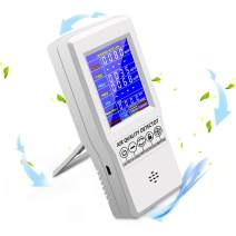 High Precision Digital LCD Air Quality Monitor, Portable Real Time Data with Mean Value Recording High Precision Tester for CO2 Formaldehyde(HCHO) TVOC PM2.5/PM10 (White Version 1)