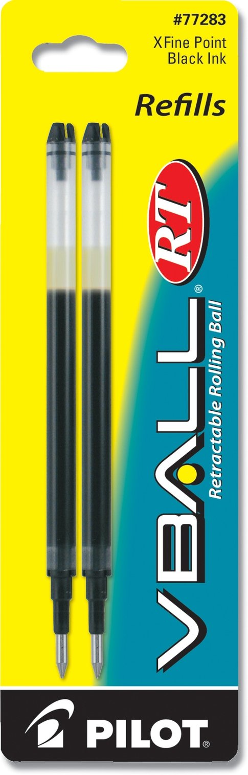 PILOT VBall RT Liquid Ink Refill for Retractable Rolling Ball Pens, Extra Fine Point, Black Ink, 2-Pack (77283)