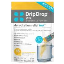 DripDrop ORS Hot - Patented Electrolyte Powder for Dehydration Relief Fast - For Illness, Cold & Flu - Honey Lemon Ginger - 16 x 8oz Servings