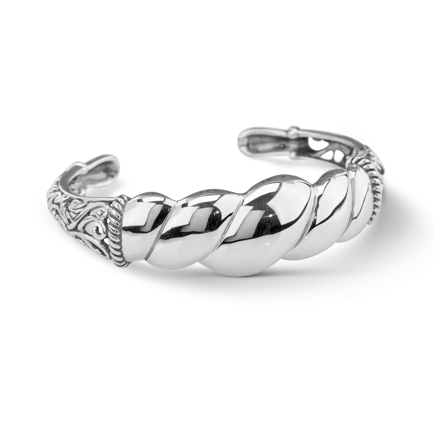 Carolyn Pollack Sterling Silver Twist Rope Cuff Bracelet Size S, M and L