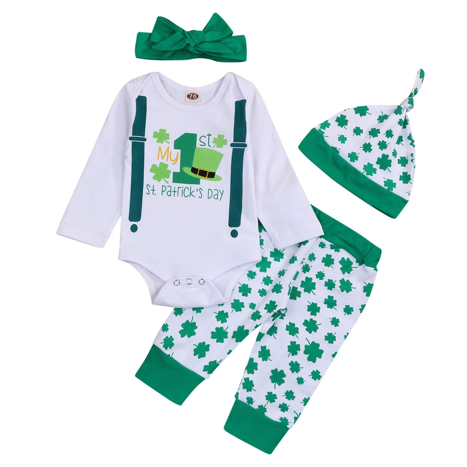 Baby Boy My 1st St. Patrick's Day Outfit Infant Boy Bow Tie Romper + Lucky Print Pants 3PCS Clothes Set