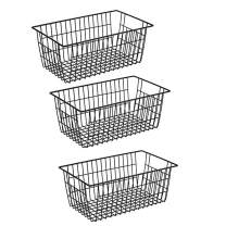 Slideep Farmhouse Metal Wire Basket, Fridge Freezer Storage Organizer Bins with Handles for Kitchen Cabinets, Pantry, Closets, Bedrooms, Bathrooms, Black 3 Pack