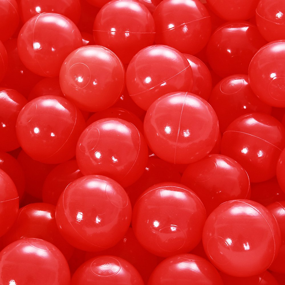 PlayMaty Play Ball Pit Balls - 2.36inches Phthalate&BPA Free Plastic Ocean Transparent Balls for Kids Toddlers and Babys for Playhouse Play Tent Playpen Pool Party Decoration Pack of 70 (Red)