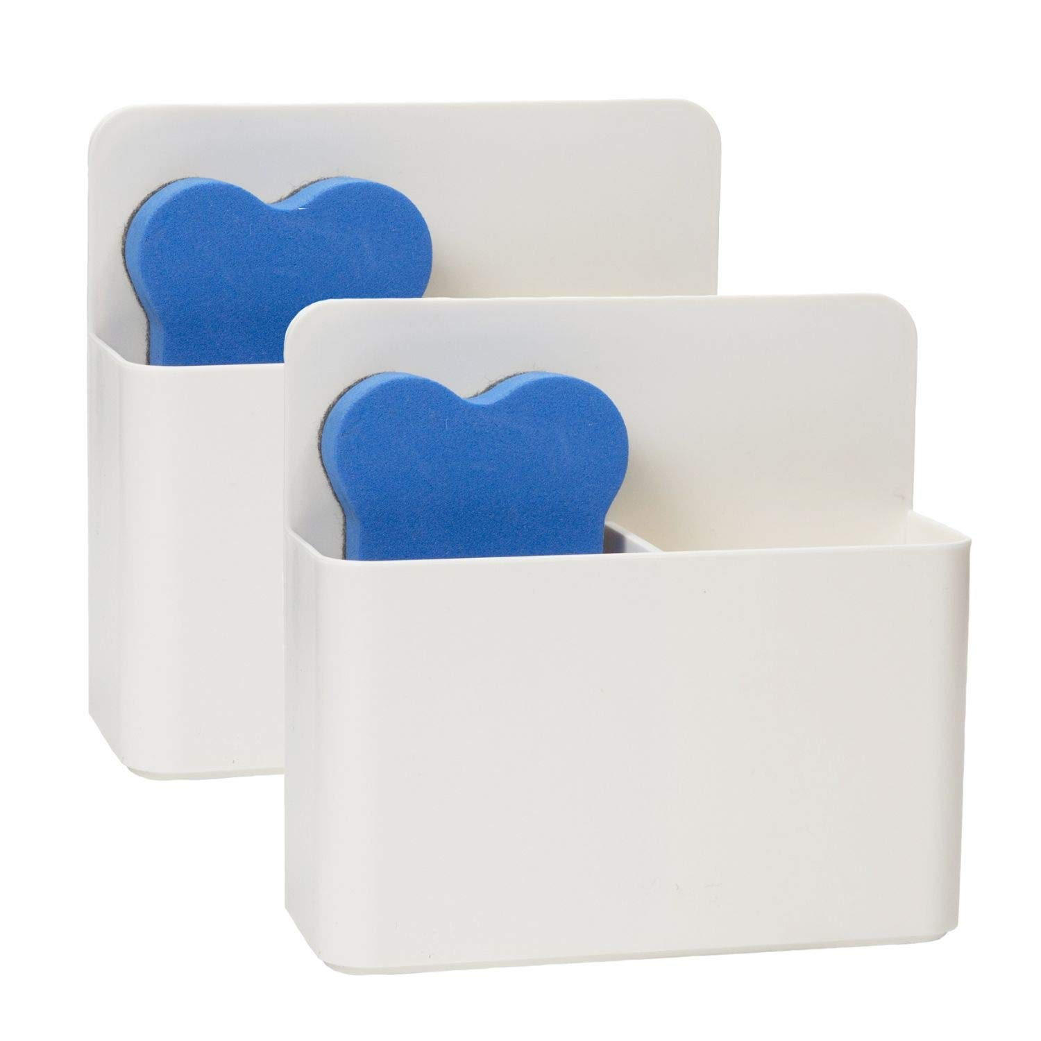 """Houseables Magnetic Dry Erase Holder, Whiteboard Marker Holders, 4.75"""" x 5"""", 2 Pk, Fits 6 Markers, Pen Cup, Storage Organizer, White Board Caddy, with Eraser, for Locker, Accessories, Refrigerator"""