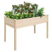 unho Garden Planter Raised Bed 46.6 x 22.6 x 29.3in Wood Planter Box Elevated Stand Outdoor Indoor for Flowers Herbs and Veges Growing
