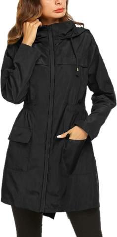 Romanstii Womens Waterproof Rain Jacket Hooded Raincoat Lined Outdoor Windbreaker Long Sleeve Zipped Trench Coats