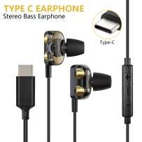 USB C Headphones for Earbuds, CTXTKER Type C Earbuds High-Fidelity Stereo Digital in-Ear Microphone Headphones, Ergonomic Comfort, Bass Noise Canceling Compatible with Google Pixel 2/2XL Note 8