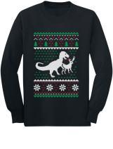 T-Rex VS Reindeer Funny Xmas Long Sleeve Kids T-Shirt with Christmas Prop